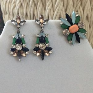 Cocktail Ring and Earring Set - multicolored gems